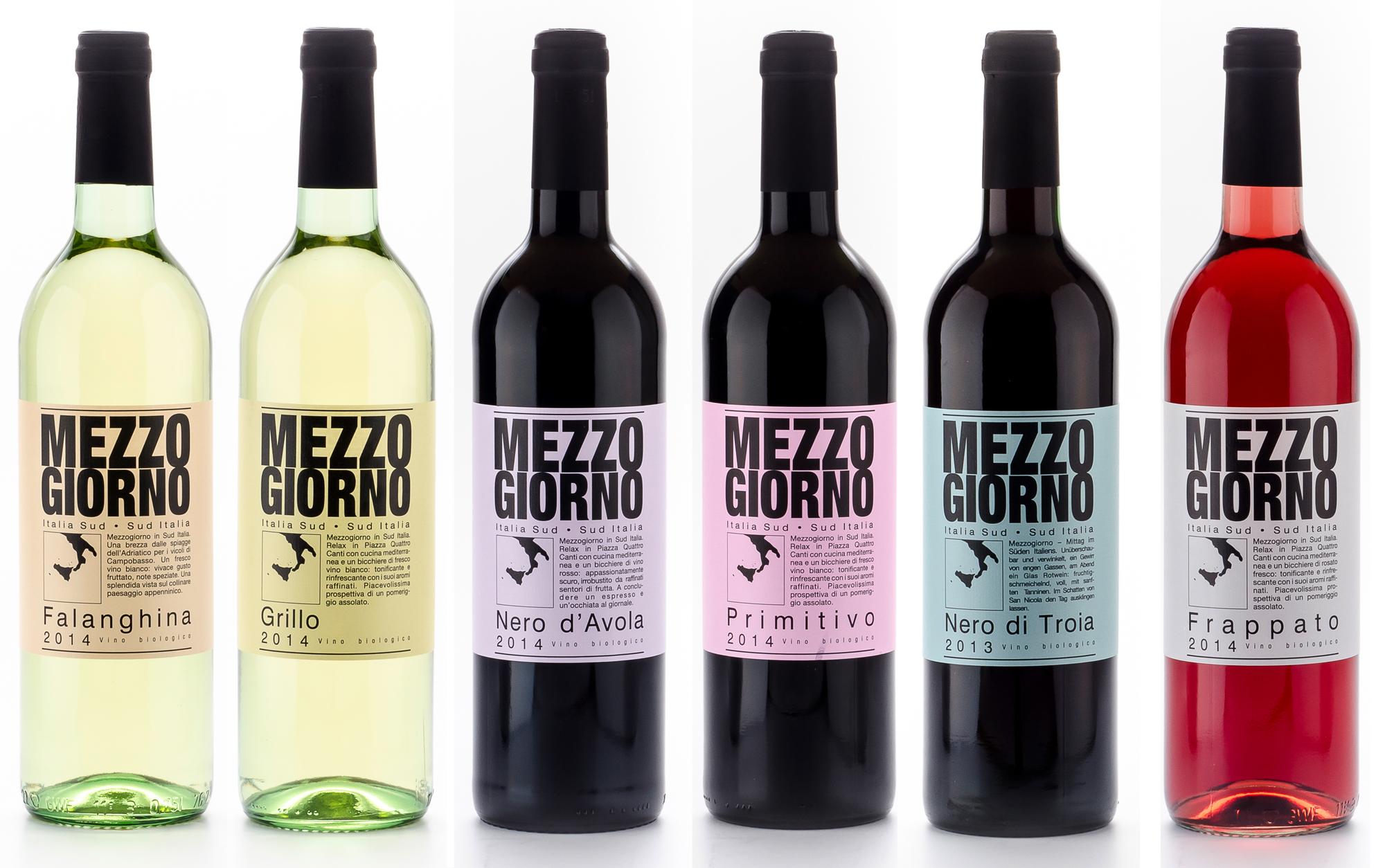 Weinetiketten Mezzogiorno