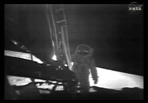 This photo, from NASA TV, shows one of the Apollo 11 astronauts on the lunar surface after landing from a new digitally refurbished version of the original moon landing video unveiled in Washington Thursday, July 16, 2009. After NASA couldn't find its original videotapes, NASA and a Hollywood film restoration company took television video copies of what Apollo 11 beamed to Earth on July 20, 1969, and made the pictures look sharper.(AP Photo/NASA TV)