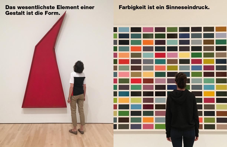 Das wesentlichste Element einer Gestalt ist die Form. Farbigkeit ist ein Sinneseindruck.