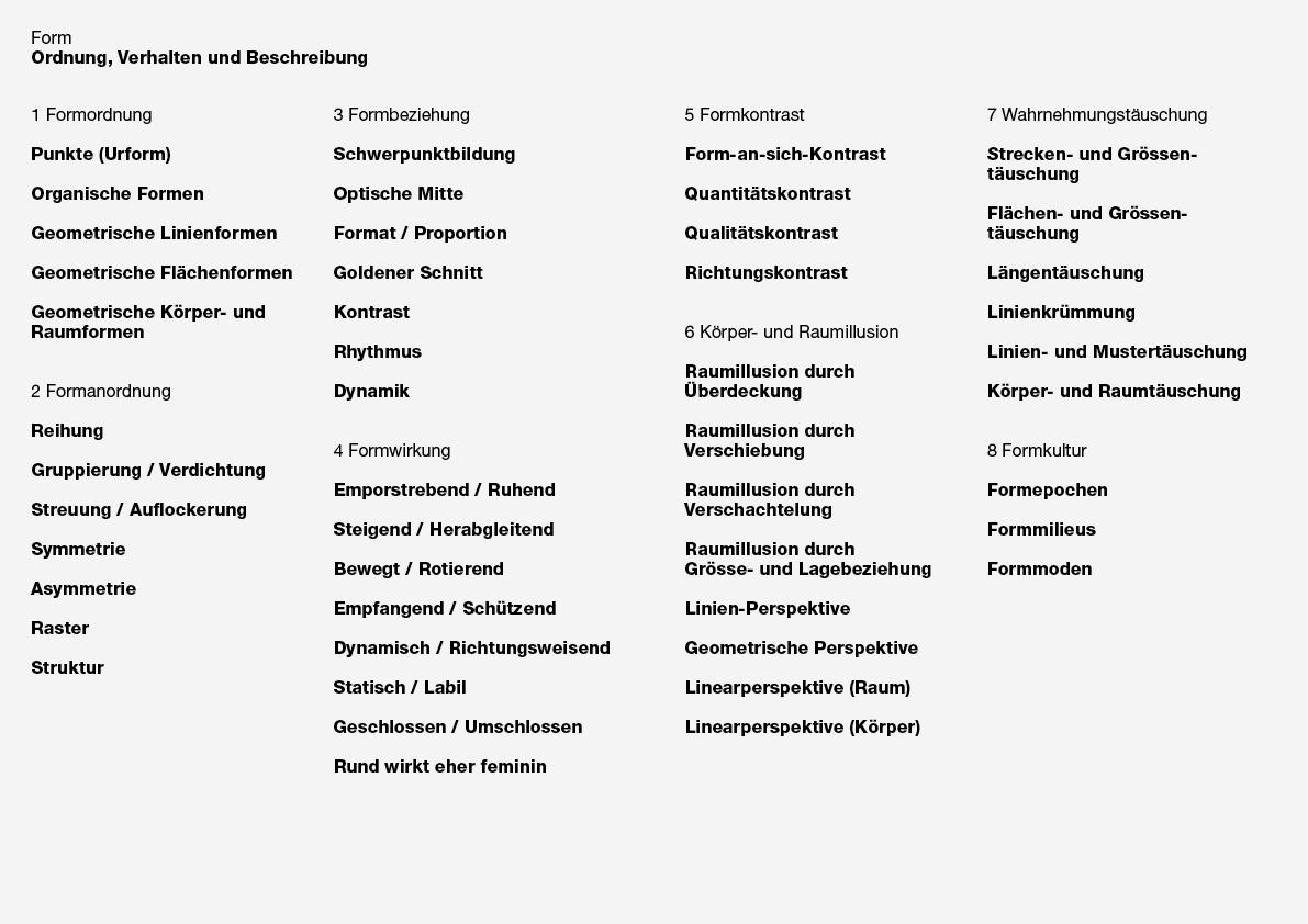 Form. Ordnung, Verhalten und Beschreibung. Form und Farbe