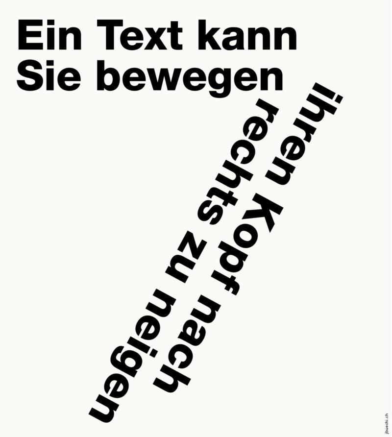 Typo: Ein Text kann Sie bewegen, ihren Kopf nach rechts zu neigen